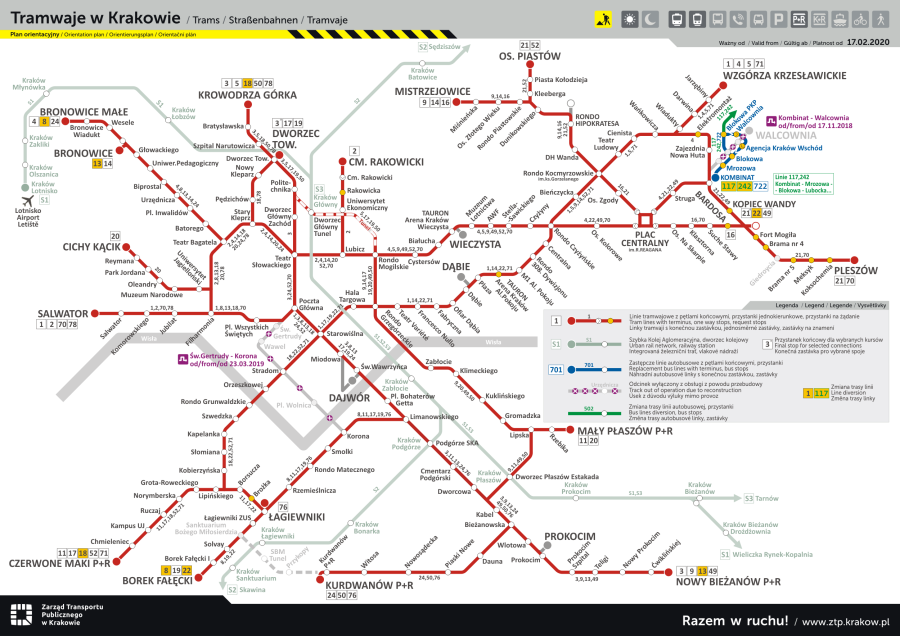 Mapa linii tramwajowych