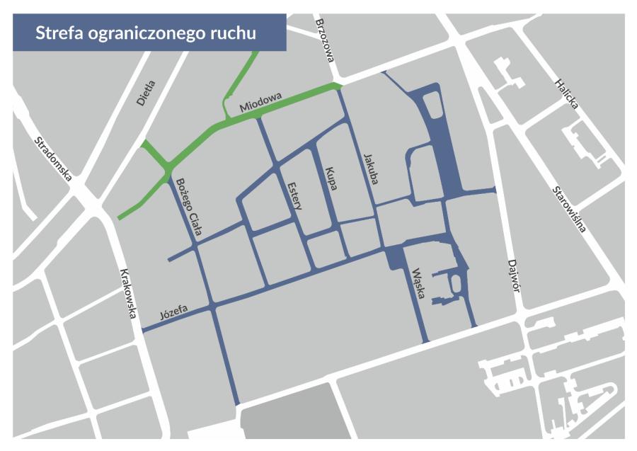 Strefa Ograniczonego Parkowania Kazimierz mapa