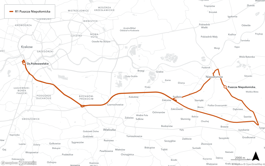 Trasa R1 - Osiedle Podwawelskie-Niepołomice