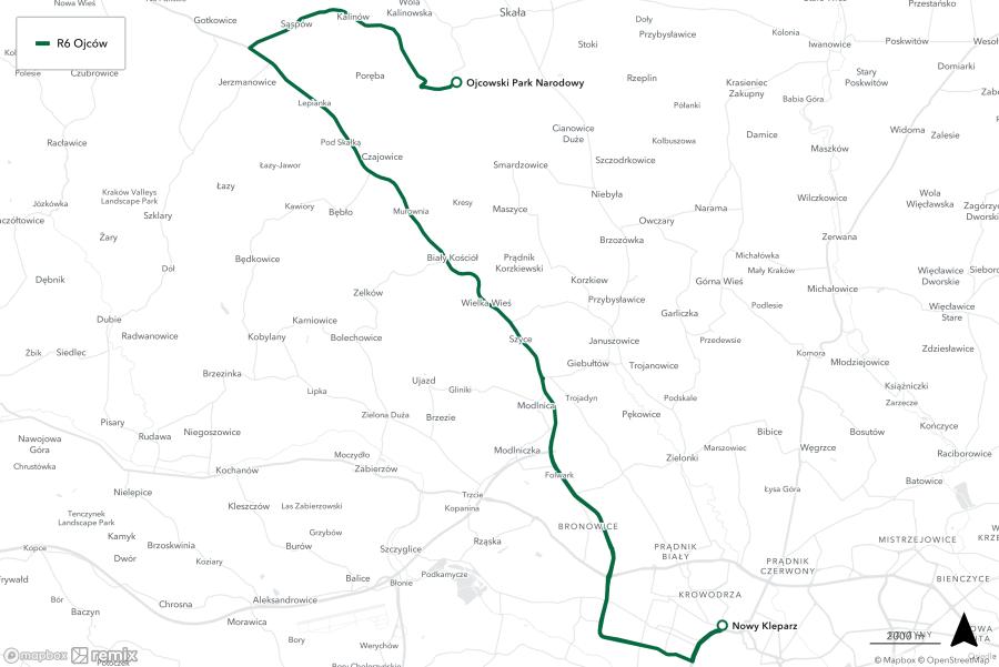 Trasa R6 Nowy kleparz - Ojcowski Park Narodowy